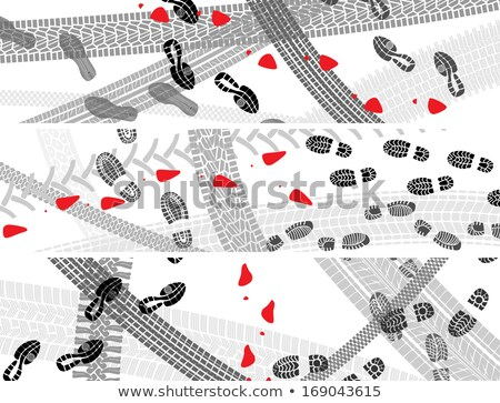 Horizontal banners of shoe and tire prints. Stock photo © Vertyr