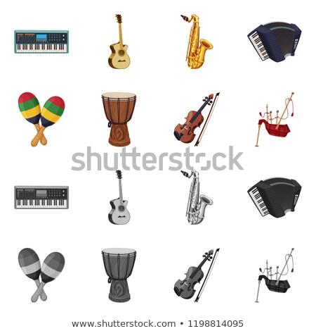 Szájharmonika szél hangszerek stock izolált fehér Stock fotó © konturvid