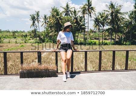 Female sitting on fencing Stock photo © dash