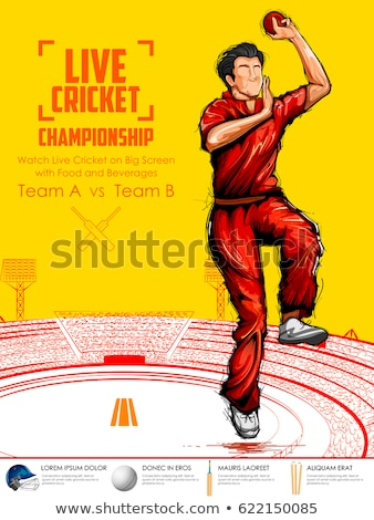 Stock photo: Player fielding in cricket championship sports
