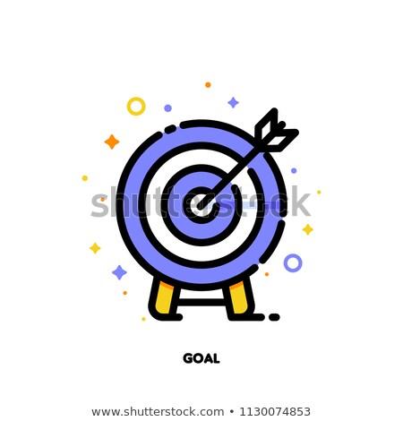 Darts nyíl ikon stílus kék siker Stock fotó © ylivdesign
