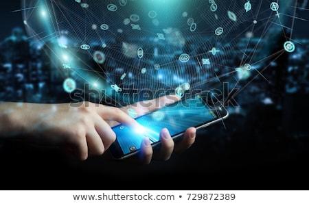 Biznesmen popychanie telefonu komórkowego ekran dotykowy selektywne focus działalności Zdjęcia stock © stevanovicigor