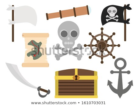 vector flat style set of icon pirate ship treasure chest map stock photo © curiosity