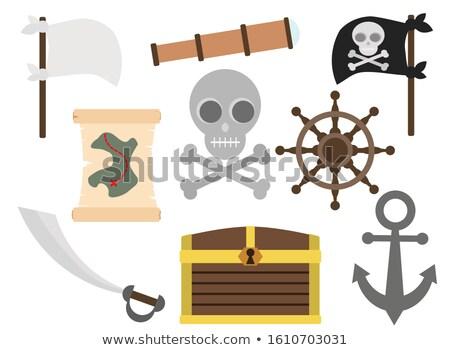 Wektora stylu zestaw ikona pirackich statku Zdjęcia stock © curiosity