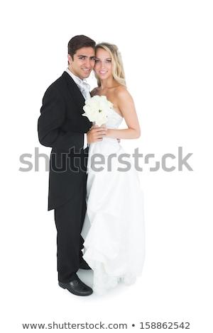Noiva noivo posando juntos câmera natureza Foto stock © tekso