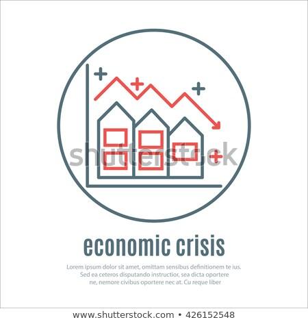 Ikona ekonomiczny kryzys domu ikona wektora Zdjęcia stock © blotty