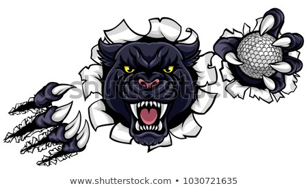 Black Panther Golf Mascot Breaking Background Stock photo © Krisdog