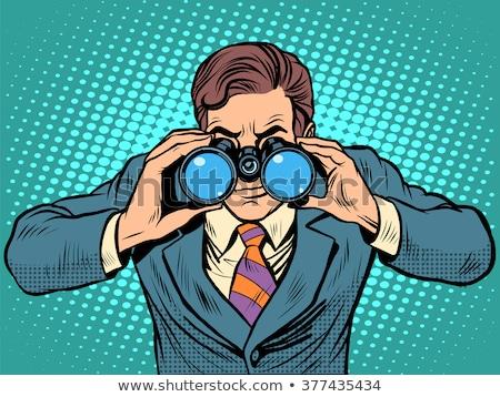 Venta empresario mirando binoculares arte pop retro Foto stock © studiostoks