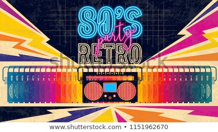 retro party poster 1980 style vector illustration stock photo © m_pavlov
