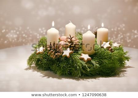 Dritten Kerze Brennen Aufkommen alten Stock foto © andreasberheide
