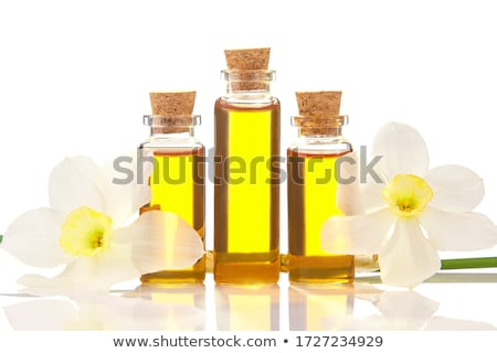 perfume bottle and yellow daffodil flower stock photo © caimacanul