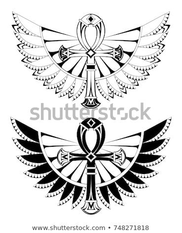 Dois asas branco tatuagens estilo Foto stock © blackmoon979