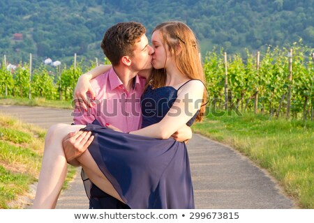 Man carrying woman in vineyard Stock photo © IS2