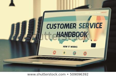 Klantenservice handboek laptop scherm 3D display Stockfoto © tashatuvango