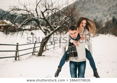 Scandinavian girl running in snow Stock photo © IS2