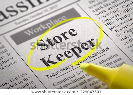 Newspaper with Job Vacancy Storekeeper. Stock photo © tashatuvango