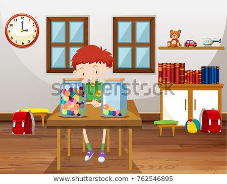 Boy and two jars with marbles in classroom Stock photo © bluering