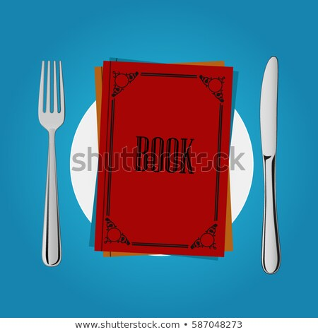 Brain on  plate. Cutlery: knife and fork. Allegory of Food vecto Stock photo © popaukropa