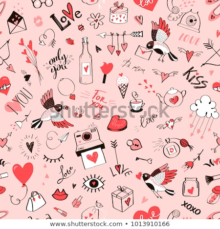 Stock photo: Red lips seamless pattern, Valentine's Day background, love vector design