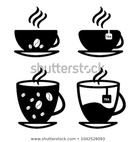 Café icône vecteur résumé design cadre Photo stock © NikoDzhi