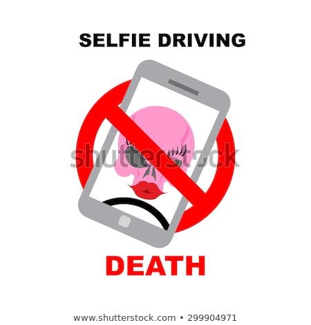 sign ban on selfie strikethrough phone with skull selfie driv stock photo © popaukropa