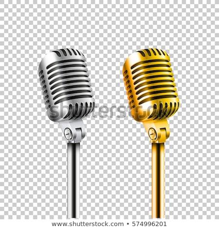 vintage · złoty · studio · mikrofon · 3D · muzyki - zdjęcia stock © Makstorm