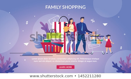 Family shopping at supermarket banners Stock photo © studioworkstock