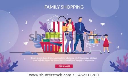 Família compras supermercado banners varejo caixa Foto stock © studioworkstock