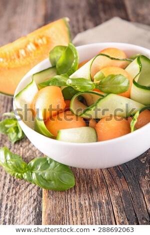 Meloen courgette basilicum voedsel achtergrond maaltijd Stockfoto © M-studio
