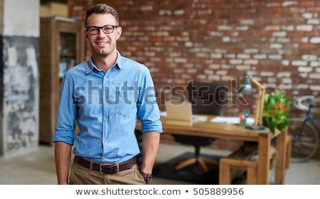 ハンサム · 小さな · ビジネスマン · 話し · 携帯電話 · 顔 - ストックフォト © deandrobot