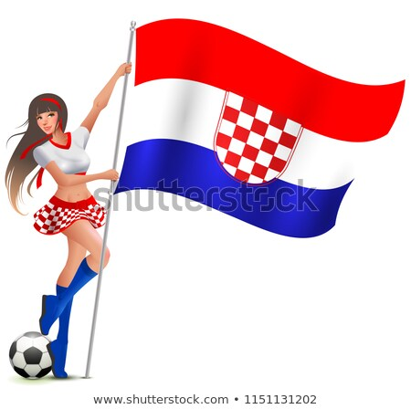Croatian girl fan rejoices in victory soccer and holds flag Stock photo © orensila