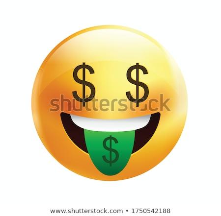 emotikon · dollár · boldog · tart · dollár · bankjegyek · üzlet - stock fotó © yayayoyo