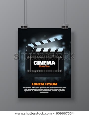 Cinema and movie - film premiere poster with clapper board, film Stock photo © gomixer