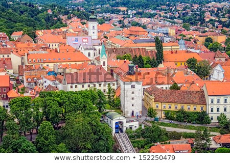 Zagreb historic upper town aerial view Stock photo © xbrchx