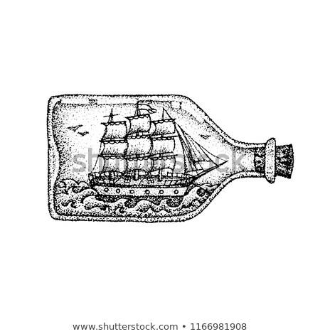 Dotwork Ship in Glass Bottle Stock photo © Anna_leni