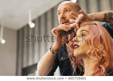 Saç stilist erkekler kuaför eğitim düğme Stok fotoğraf © Ustofre9