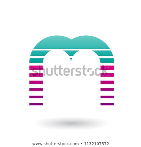 green and magenta letter m icon with horizontal stripes vector i stock photo © cidepix