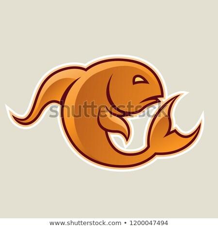 Orange Curvy Fish or Pisces Icon Vector Illustration Stock photo © cidepix
