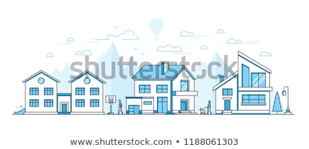 Town landscape - modern thin line design style vector illustration Stock photo © Decorwithme