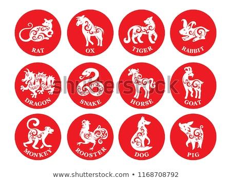 horoszkóp · állatöv · felirat · tenger · kecske · asztrológia - stock fotó © izakowski