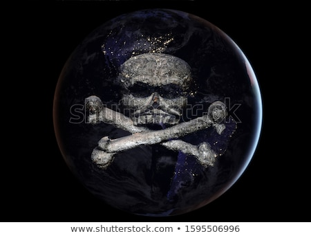 Earth skull. head of skeleton is planet. Continents and Oceans.  Stock photo © popaukropa