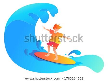 Szörfözik háló poszter terv fiú szörfös Stock fotó © robuart
