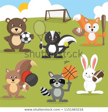 Cartoon skunks koszykówki ilustracja gry sportowe Zdjęcia stock © cthoman