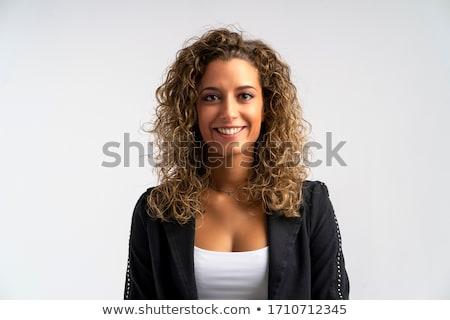 aantrekkelijk · gekruld · blond · vrouw · zwarte · kleding - stockfoto © acidgrey