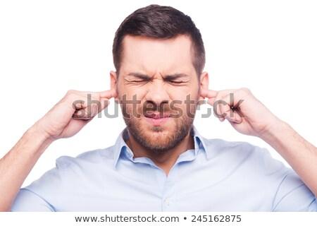 Maturité affaires oreilles doigts portrait gris Photo stock © AndreyPopov