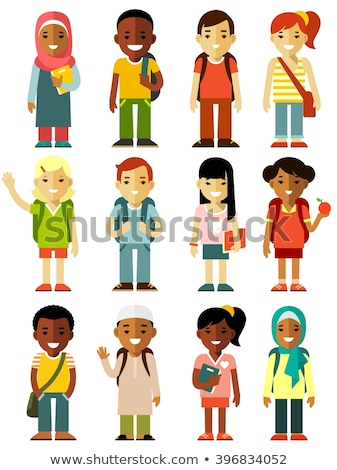 smiling muslim and asian student with backpack vector isolated illustration stock photo © pikepicture