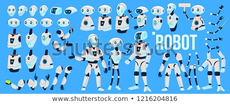 Robot Vector. Animation Set. Futuristic Technology Automation Robot Helper. Cybernetic Ai Machine. A Stock photo © pikepicture