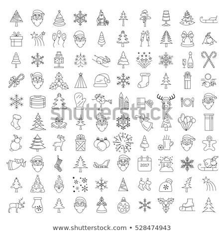 christmas vector set with simple santa hats in flat style stock photo © pravokrugulnik