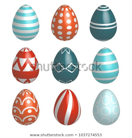 Foto stock: Set Of Nine Realistic Colorful Vector Easter Eggs With Simple Patterns And Shadow On White Backgroun