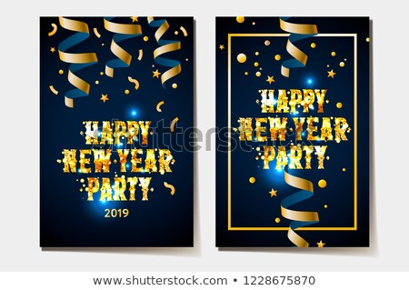 happy new year poster 2019 gold and black colors place for text christmas streamers and confetti stock photo © ikopylov